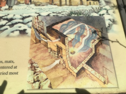 This illustration shows how airflow holes were built into the homes to vent fire smoke out of the dwelling.